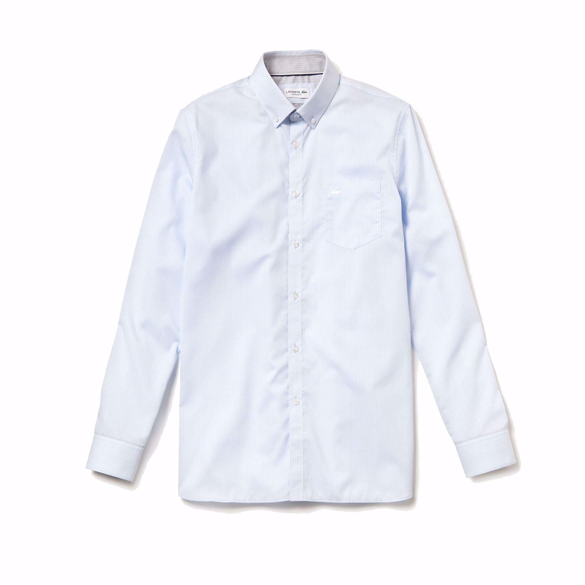 Biancoblu Chiaro Lacoste Regular Texture A Camicia Manica Lunga kiOZPXuT