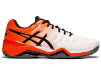 SCARPA DA TENNIS DA UOMO ASICS GEL-RESOLUTION 7 CLAY BIANCA ARANCIONE