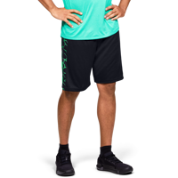 SHORT DA UOMO UNDER ARMOUR UA TECH BAR LOGO SHORTS NERO VERDE