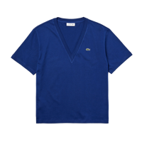 T-SHIRT DA DONNA LACOSTE COLLO A V BLU NAVY