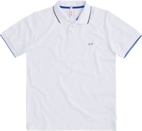 POLO DA UOMO SUN68 SMALL STRIPE ON COLLAR EL. BIANCA