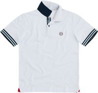 POLO DA UOMO SUN68 STRIPES ON FRONT PLACKET & CUFF EL. BIANCA