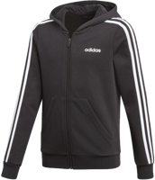 FELPA CON CAPPUCCIO E ZIP JUNIOR ADIDAS ESSENTIALS 3-STRIPES NERO