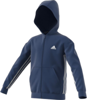 FELPA CON CAPPUCCIO E ZIP JUNIOR ADIDAS MUST HAVE 3-STRIPES BLU