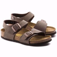 SANDALO JUNIOR BIRKENSTOCK NEW YORK BIRKO FLOR NUBUCK MARRONE