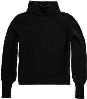 MAGLIONE A COLLO ALTO DA DONNA SUPERDRY AMY RIBBED NERO