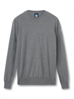 MAGLIONE DA UOMO GIROCOLLO IN COTONE E LANA NORTH SAILS MEDIUM GREY MELANGE