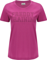 T-SHIRT DA DONNA IN JERSEY LEGGERO CON MICRO POIS APPLICATI FREDDY FUCSIA