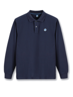POLO IN PIQUET A MANICA LUNGA DA UOMO NORTH SAILS BLU NAVY