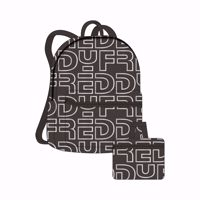 ZAINO FREDDY RIPIEGABILE IN NYLON CON STAMPA IN REFLEX NERO
