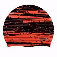CUFFIA SPEEDO SLOGAN PRINT CAP NERA/ARANCIO