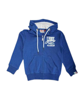 FELPA CON CAPPUCCIO E ZIP JUNIOR LEONE BLU ROYAL