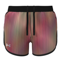 SHORT DONNA UNDER ARMOUR UA FLY BY 2.0 CHROMA NERO CON RIGHE VERTICALI COLORATE